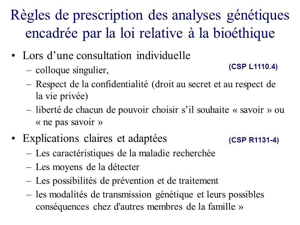 Règles de prescription des analyses génétiques encadrée par la loi relative à la bioéthique Lors dune consultation individuelle –colloque singulier, –