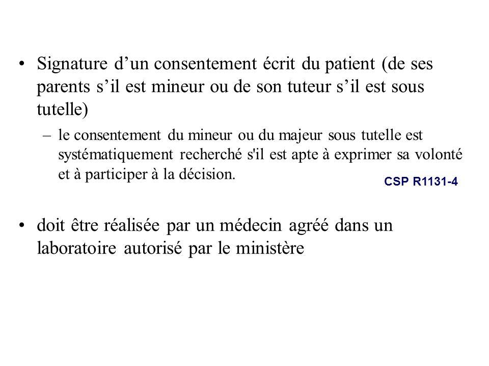 Signature dun consentement écrit du patient (de ses parents sil est mineur ou de son tuteur sil est sous tutelle) –le consentement du mineur ou du maj