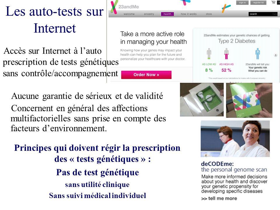 Les auto-tests sur Internet Accès sur Internet à lauto prescription de tests génétiques sans contrôle/accompagnement Principes qui doivent régir la pr