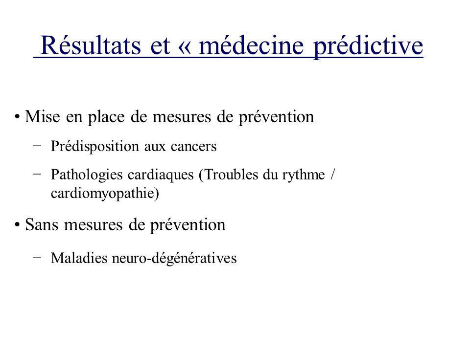 Résultats et « médecine prédictive Mise en place de mesures de prévention Prédisposition aux cancers Pathologies cardiaques (Troubles du rythme / card
