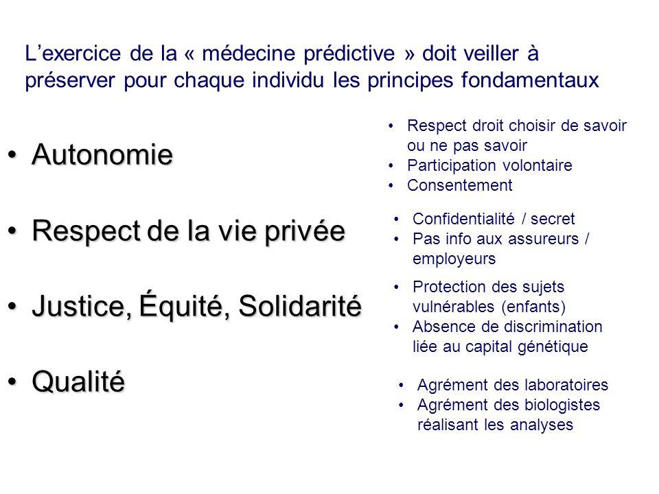 Lexercice de la « médecine prédictive » doit veiller à préserver pour chaque individu les principes fondamentaux AutonomieAutonomie Respect de la vie