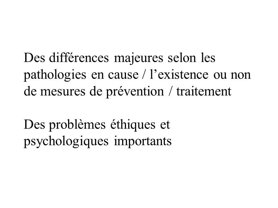 Des différences majeures selon les pathologies en cause / lexistence ou non de mesures de prévention / traitement Des problèmes éthiques et psychologi
