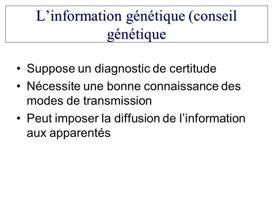 Suppose un diagnostic de certitude Nécessite une bonne connaissance des modes de transmission Peut imposer la diffusion de linformation aux apparentés