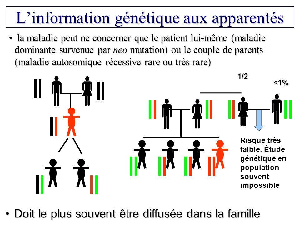 Linformation génétique aux apparentés la maladie peut ne concerner que le patient lui-même (maladie dominante survenue par neo mutation) ou le couple