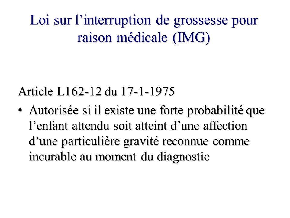 Loi sur linterruption de grossesse pour raison médicale (IMG) Article L162-12 du 17-1-1975 Autorisée si il existe une forte probabilité que lenfant at