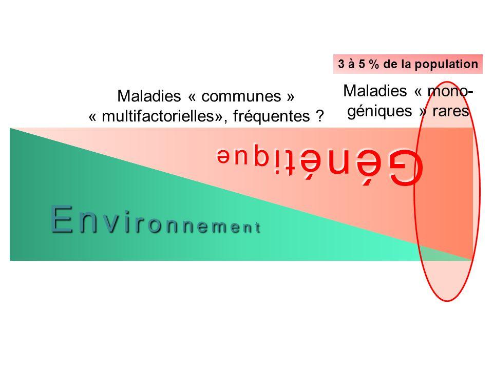 En v i r o n n e m e n t Gé n é t i q u e Maladies « mono- géniques » rares Maladies « communes » « multifactorielles», fréquentes ? 3 à 5 % de la pop