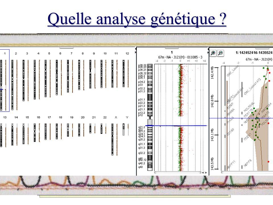 Analyses génétiques En général longues, et coûteuses Pas toujours de résultat Difficultés dinterprétation –Caractère délétère ou non de la particularité identifiée – Données familiales Découverte fortuite danomalies non recherchées