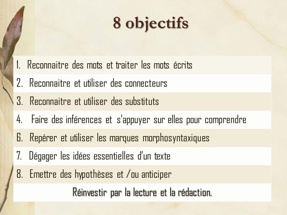 8 objectifs 1.Reconnaitre des mots et traiter les mots écrits 2.