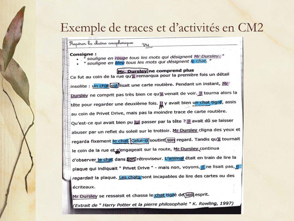 Exemple de traces et dactivités en CM2