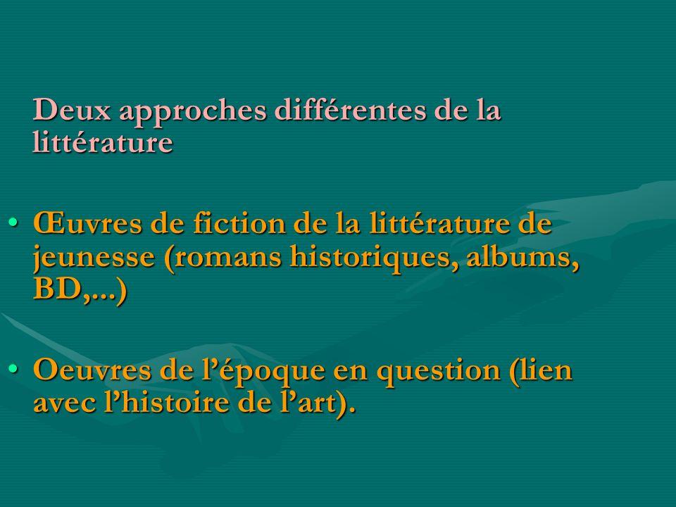 Deux approches différentes de la littérature Deux approches différentes de la littérature Œuvres de fiction de la littérature de jeunesse (romans hist
