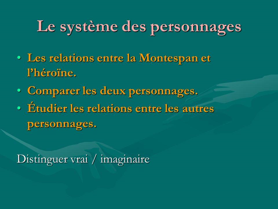 Le système des personnages Les relations entre la Montespan et lhéroïne.Les relations entre la Montespan et lhéroïne. Comparer les deux personnages.Co