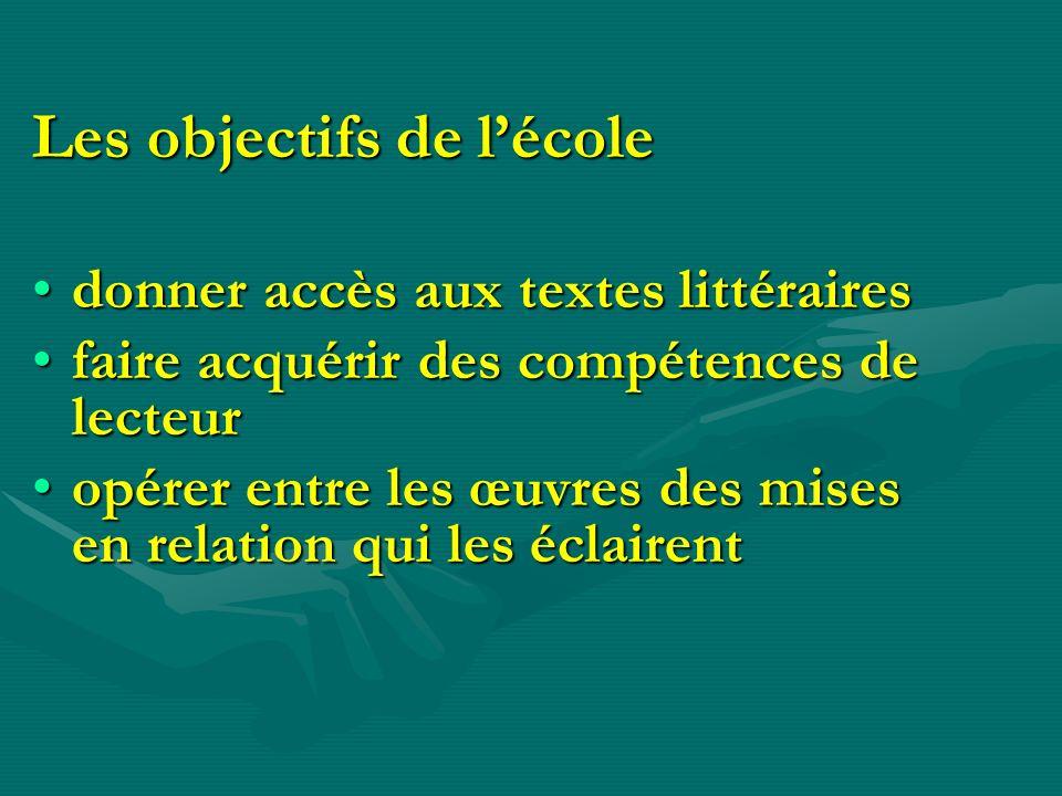 Les objectifs de lécole donner accès aux textes littérairesdonner accès aux textes littéraires faire acquérir des compétences de lecteurfaire acquérir