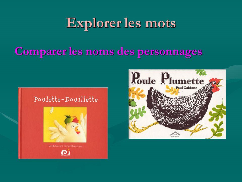 Explorer les mots Comparer les noms des personnages