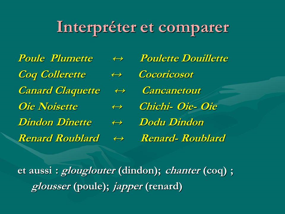 Interpréter et comparer Poule Plumette Poulette Douillette Coq Collerette Cocoricosot Canard Claquette Cancanetout Oie Noisette Chichi- Oie- Oie Dindo