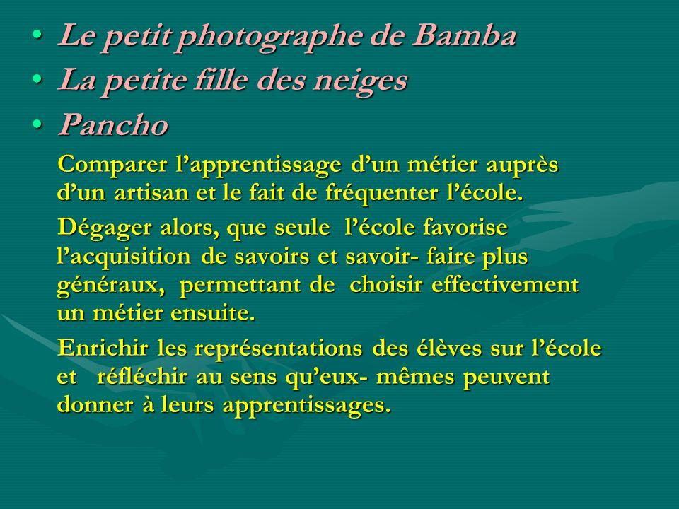 Le petit photographe de BambaLe petit photographe de Bamba La petite fille des neigesLa petite fille des neiges PanchoPancho Comparer lapprentissage d
