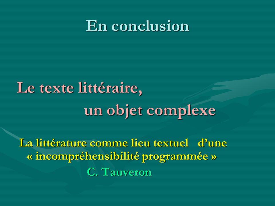En conclusion Le texte littéraire, un objet complexe un objet complexe La littérature comme lieu textuel dune « incompréhensibilité programmée » La li