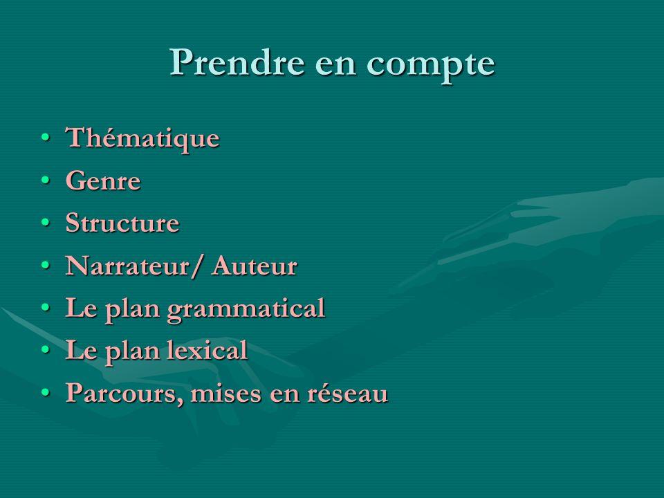 Prendre en compte ThématiqueThématique GenreGenre StructureStructure Narrateur/ AuteurNarrateur/ Auteur Le plan grammaticalLe plan grammatical Le plan