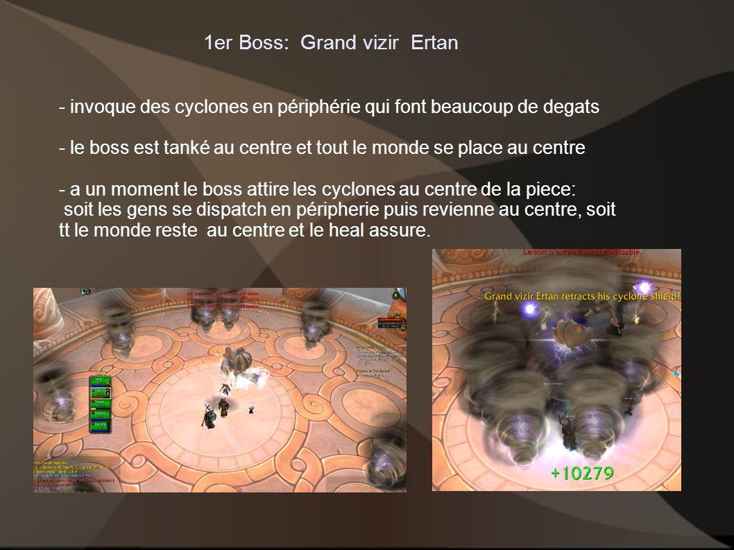 1er Boss: Grand vizir Ertan - invoque des cyclones en périphérie qui font beaucoup de degats - le boss est tanké au centre et tout le monde se place a