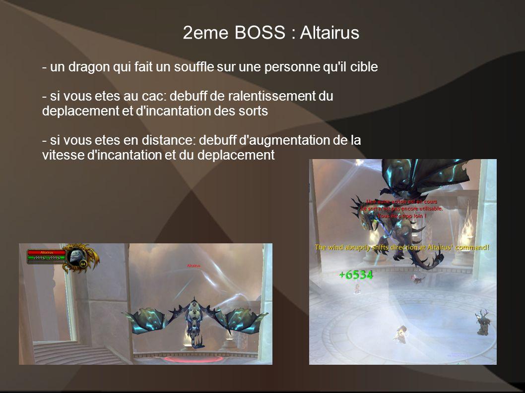 2eme BOSS : Altairus - un dragon qui fait un souffle sur une personne qu'il cible - si vous etes au cac: debuff de ralentissement du deplacement et d'