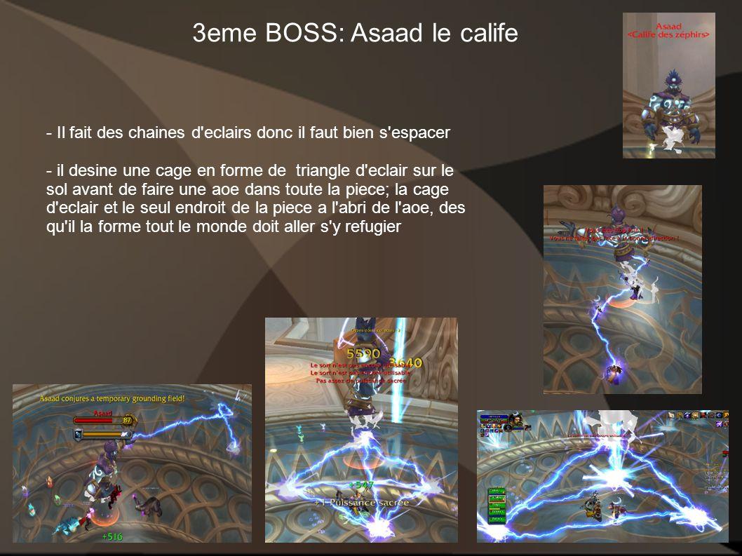 3eme BOSS: Asaad le calife - Il fait des chaines d'eclairs donc il faut bien s'espacer - il desine une cage en forme de triangle d'eclair sur le sol a