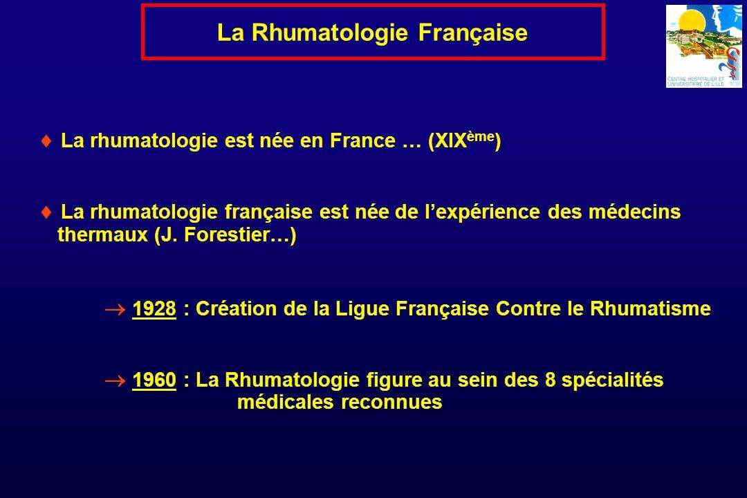 La rhumatologie est née en France … (XIX ème ) La rhumatologie française est née de lexpérience des médecins thermaux (J. Forestier…) 1928 : Création
