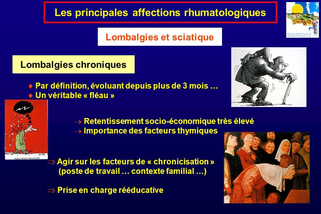Par définition, évoluant depuis plus de 3 mois … Un véritable « fléau » Les principales affections rhumatologiques Lombalgies et sciatique Retentissem
