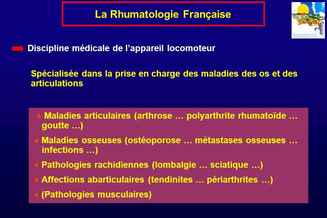 Spécialité médicale « clinique » … « Intellectuelle » … « Qui pense … réfléchit … et fait travailler les autres … » La Rhumatologie Française Biologie (biochimie, immunologie, biologie moléculaire …) Imagerie médicale (scintigraphies …RX … TDM … IRM … Echo …) Densitométrie osseuse Electrophysiologie (EMG, PES …) Rhumatologie/RX - interventionnelle (biopsies … infiltrations… cimentoplasties …) Physiokinésithérapie, rééducation, thermalisme …