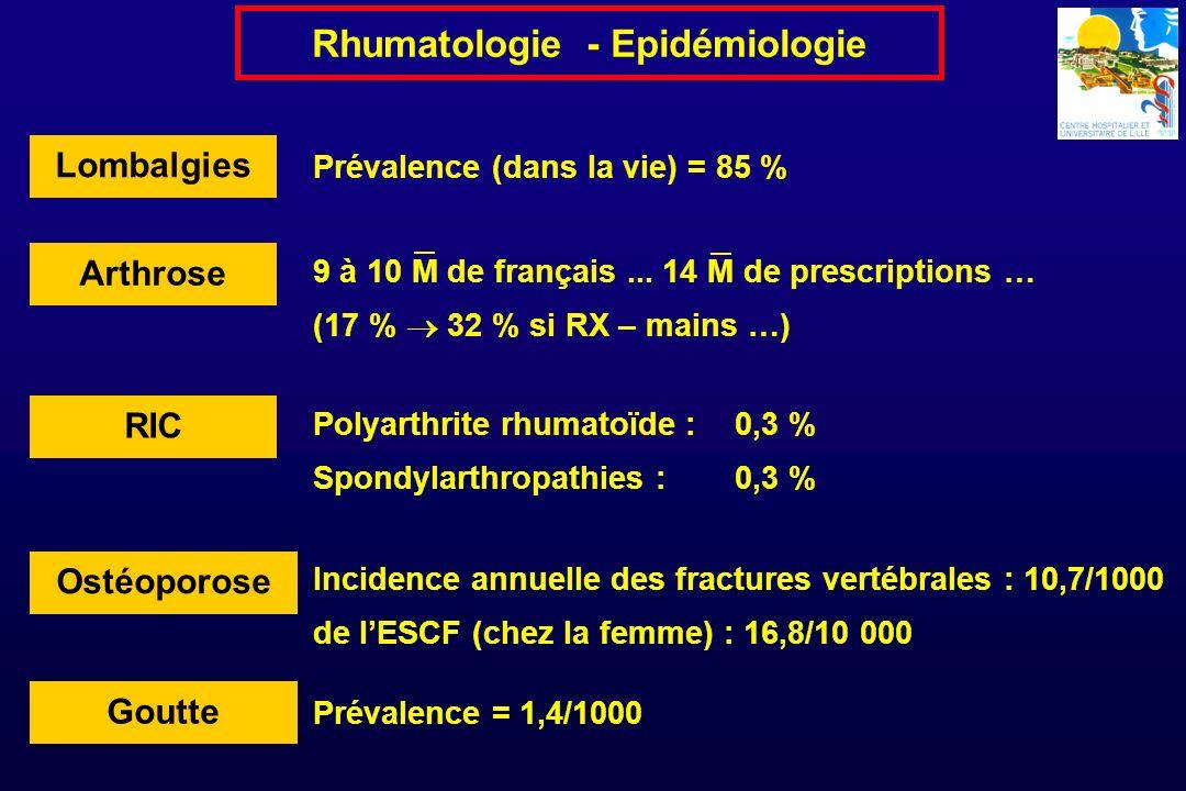 Lenquête ORS Bretagne (2003 – Livre blanc de la Rhumatologie) Activité de consultation (N = 1731 dont 1357 consultations libérales) Age moyen = 57 ans 64 % de femmes 45 % de retraités 15-19 % en ALD 5-3 % en AT Rhumatologie - Epidémiologie Arthropathies non inflammatoires des membres : 30 % Pathologies abarticulaires : 18 % Rhumatismes inflammatoires chroniques : 17 % (42 % - hôpital) Radiculalgies, névralgies : 17 % Ostéopathies bénignes : 8 % Affections microcristallines : 2,5 % Affections tumorales : 1 %