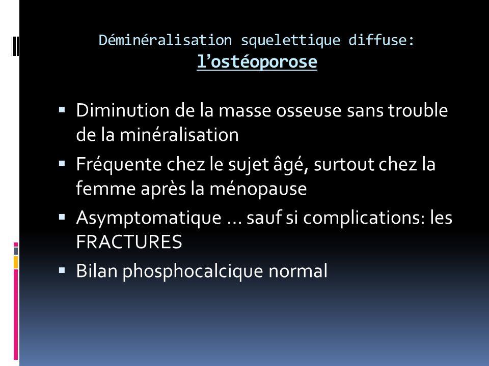 Déminéralisation squelettique diffuse: lostéoporose Diminution de la masse osseuse sans trouble de la minéralisation Fréquente chez le sujet âgé, surtout chez la femme après la ménopause Asymptomatique … sauf si complications: les FRACTURES Bilan phosphocalcique normal