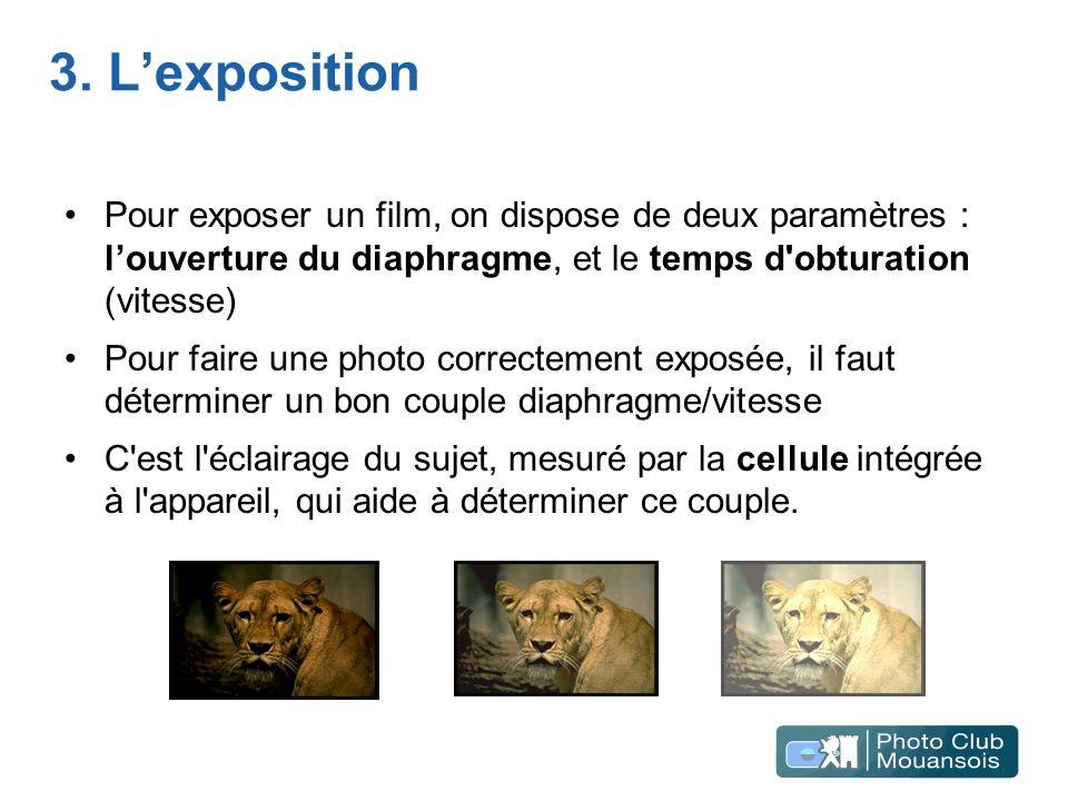 3. Lexposition Pour exposer un film, on dispose de deux paramètres : louverture du diaphragme, et le temps d'obturation (vitesse) Pour faire une photo