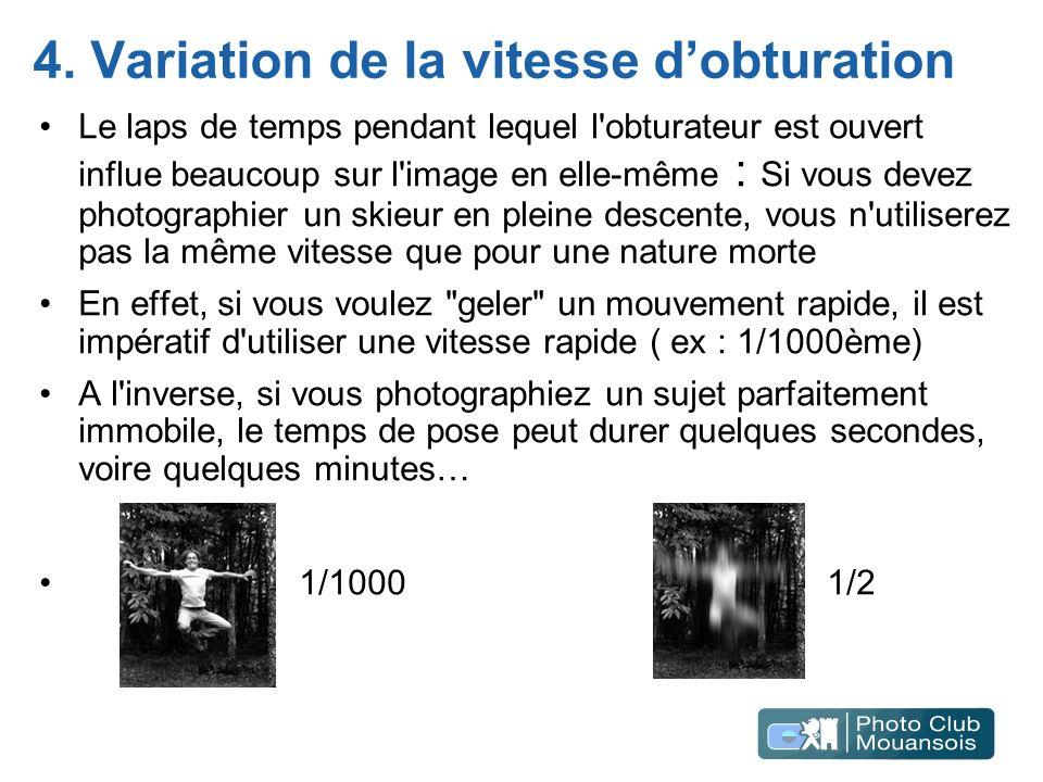 4. Variation de la vitesse dobturation Le laps de temps pendant lequel l'obturateur est ouvert influe beaucoup sur l'image en elle-même : Si vous deve