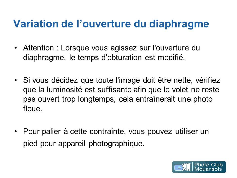 Variation de louverture du diaphragme Attention : Lorsque vous agissez sur l'ouverture du diaphragme, le temps dobturation est modifié. Si vous décide
