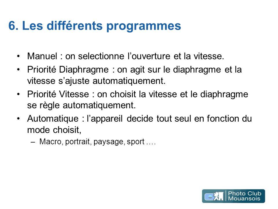6. Les différents programmes Manuel : on selectionne louverture et la vitesse. Priorité Diaphragme : on agit sur le diaphragme et la vitesse sajuste a