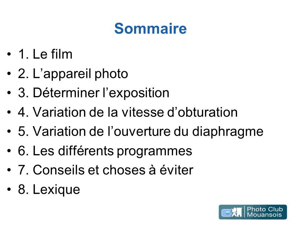 Sommaire 1. Le film 2. Lappareil photo 3. Déterminer lexposition 4. Variation de la vitesse dobturation 5. Variation de louverture du diaphragme 6. Le