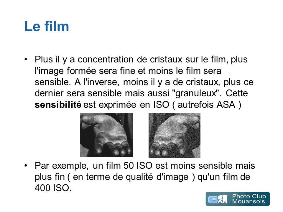 Le film Plus il y a concentration de cristaux sur le film, plus l'image formée sera fine et moins le film sera sensible. A l'inverse, moins il y a de