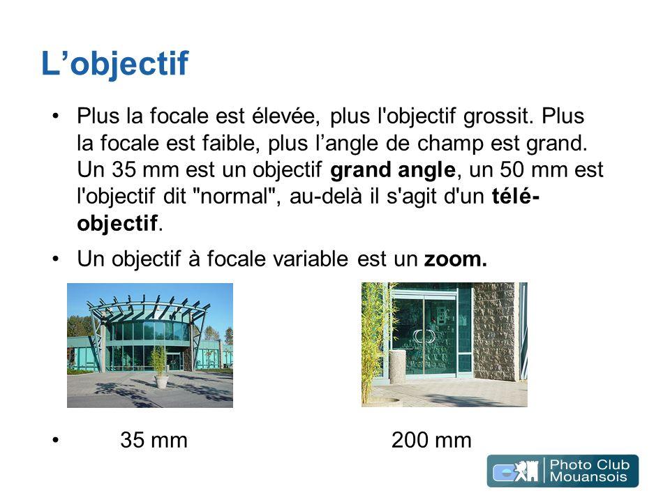 Lobjectif Plus la focale est élevée, plus l'objectif grossit. Plus la focale est faible, plus langle de champ est grand. Un 35 mm est un objectif gran