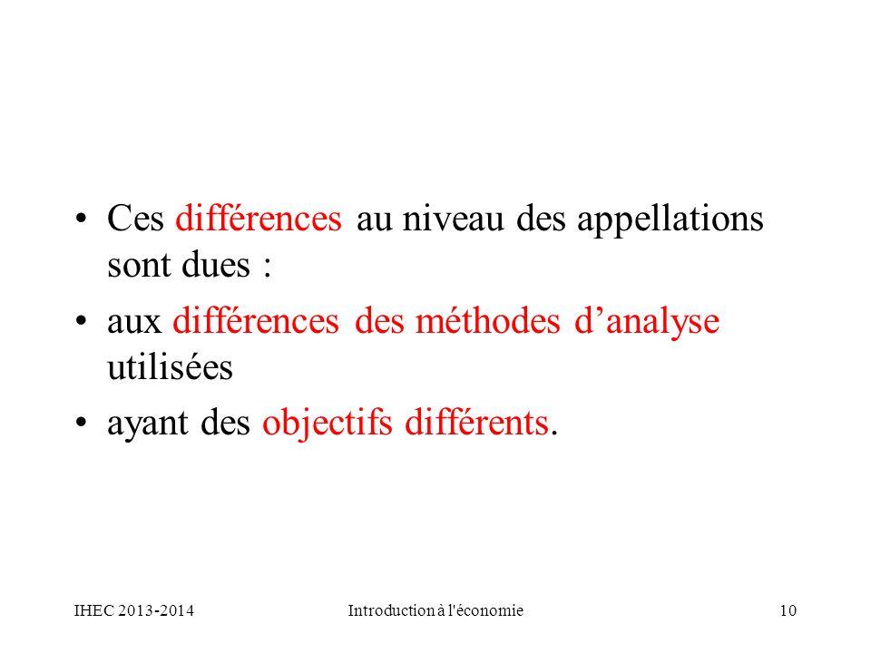 Ces différences au niveau des appellations sont dues : aux différences des méthodes danalyse utilisées ayant des objectifs différents. IHEC 2013-2014I