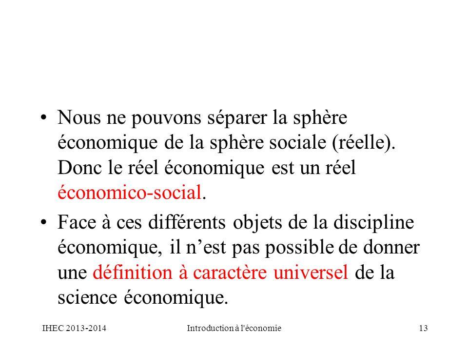 Nous ne pouvons séparer la sphère économique de la sphère sociale (réelle). Donc le réel économique est un réel économico-social. Face à ces différent