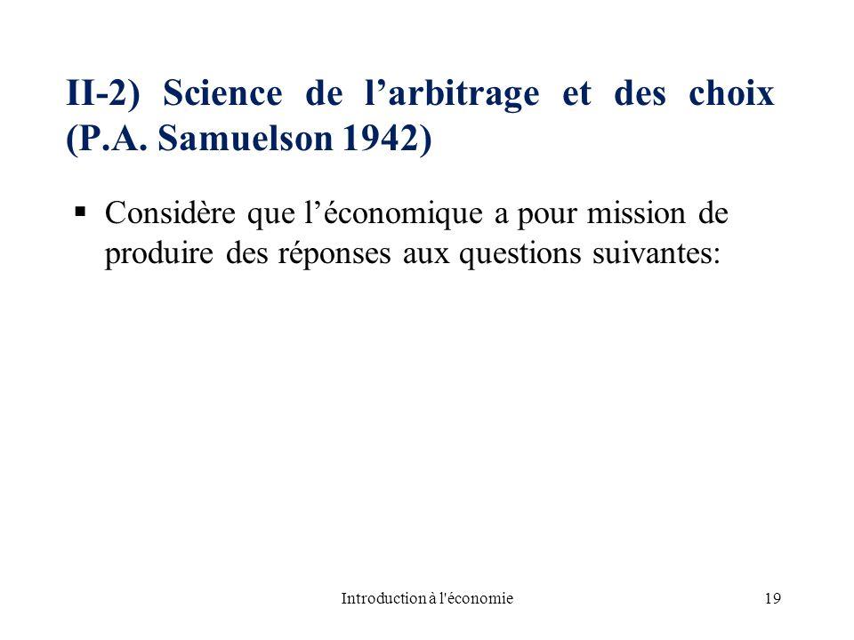 II-2) Science de larbitrage et des choix (P.A. Samuelson 1942) Considère que léconomique a pour mission de produire des réponses aux questions suivant