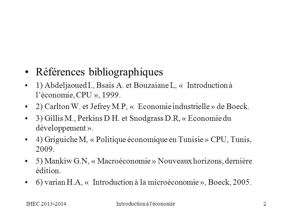 Références bibliographiques 1) Abdeljaoued I., Bsais A. et Bouzaiane L, « Introduction à léconomie, CPU », 1999. 2) Carlton W. et Jefrey M.P, « Econom