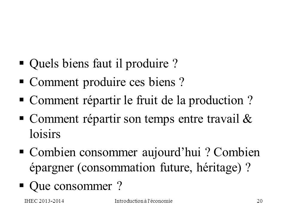 Quels biens faut il produire ? Comment produire ces biens ? Comment répartir le fruit de la production ? Comment répartir son temps entre travail & lo