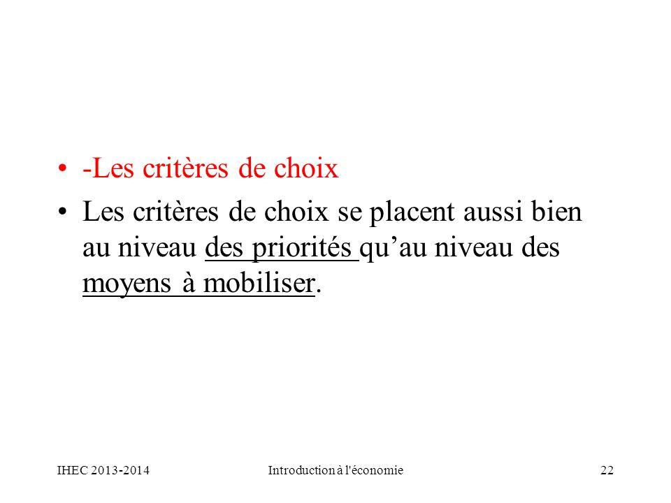 -Les critères de choix Les critères de choix se placent aussi bien au niveau des priorités quau niveau des moyens à mobiliser. IHEC 2013-2014Introduct