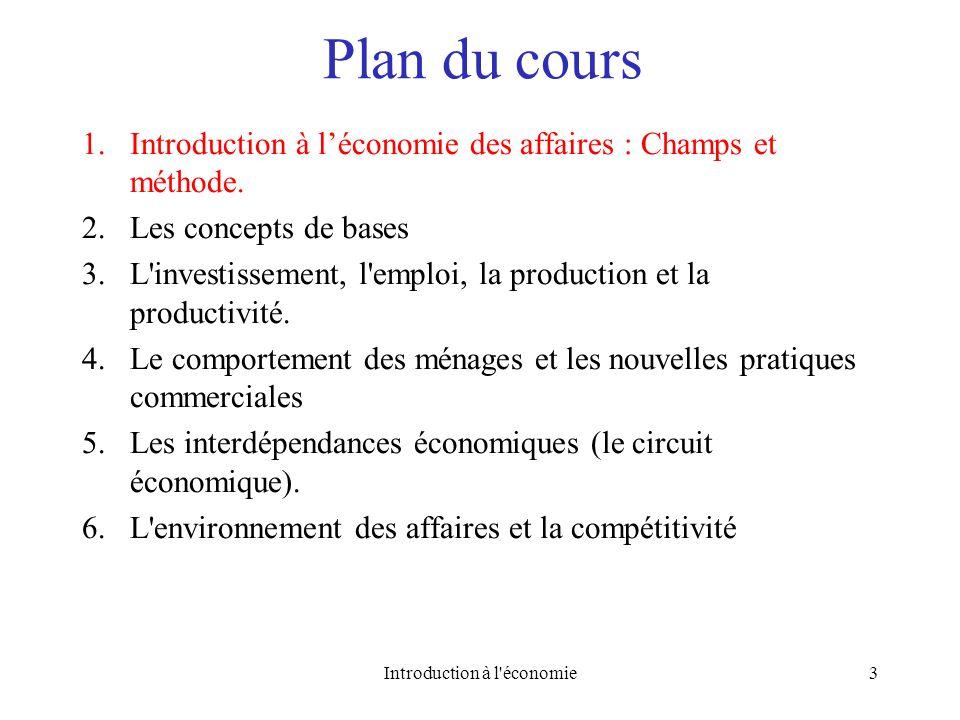 Plan du cours 1.Introduction à léconomie des affaires : Champs et méthode. 2.Les concepts de bases 3.L'investissement, l'emploi, la production et la p