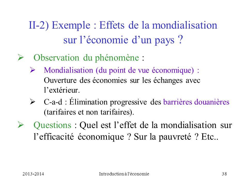 II-2) Exemple : Effets de la mondialisation sur léconomie dun pays ? Observation du phénomène : Mondialisation (du point de vue économique) : Ouvertur