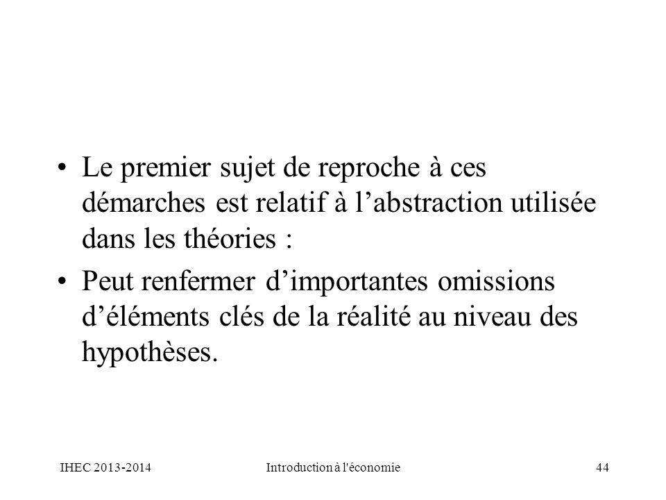 Le premier sujet de reproche à ces démarches est relatif à labstraction utilisée dans les théories : Peut renfermer dimportantes omissions déléments c