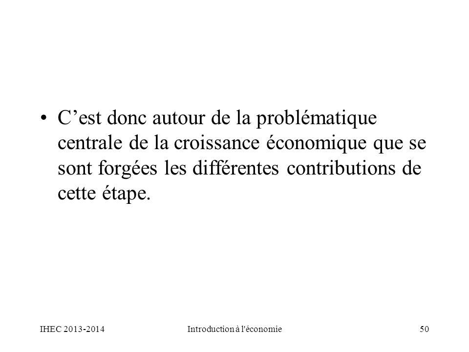 Cest donc autour de la problématique centrale de la croissance économique que se sont forgées les différentes contributions de cette étape. IHEC 2013-