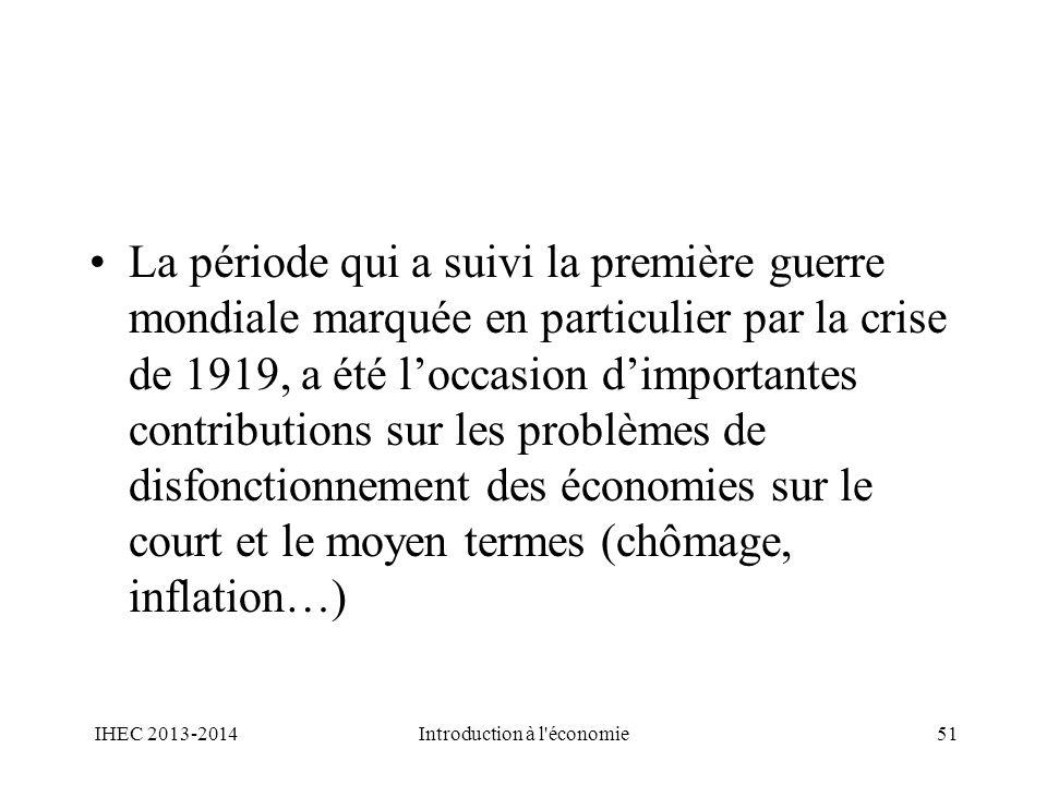 La période qui a suivi la première guerre mondiale marquée en particulier par la crise de 1919, a été loccasion dimportantes contributions sur les pro