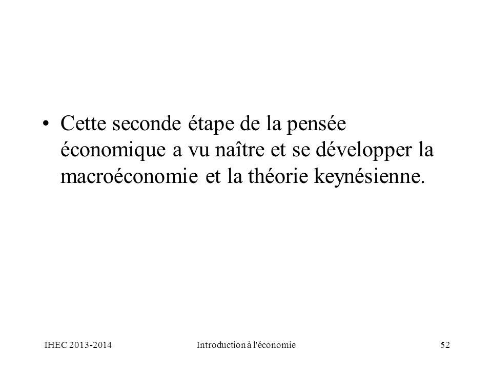 Cette seconde étape de la pensée économique a vu naître et se développer la macroéconomie et la théorie keynésienne. IHEC 2013-2014Introduction à l'éc