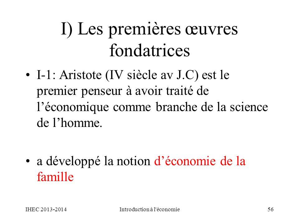 I) Les premières œuvres fondatrices I-1: Aristote (IV siècle av J.C) est le premier penseur à avoir traité de léconomique comme branche de la science