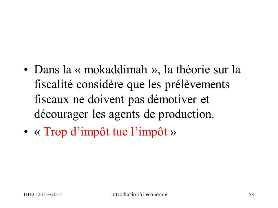 Dans la « mokaddimah », la théorie sur la fiscalité considère que les prélèvements fiscaux ne doivent pas démotiver et décourager les agents de produc